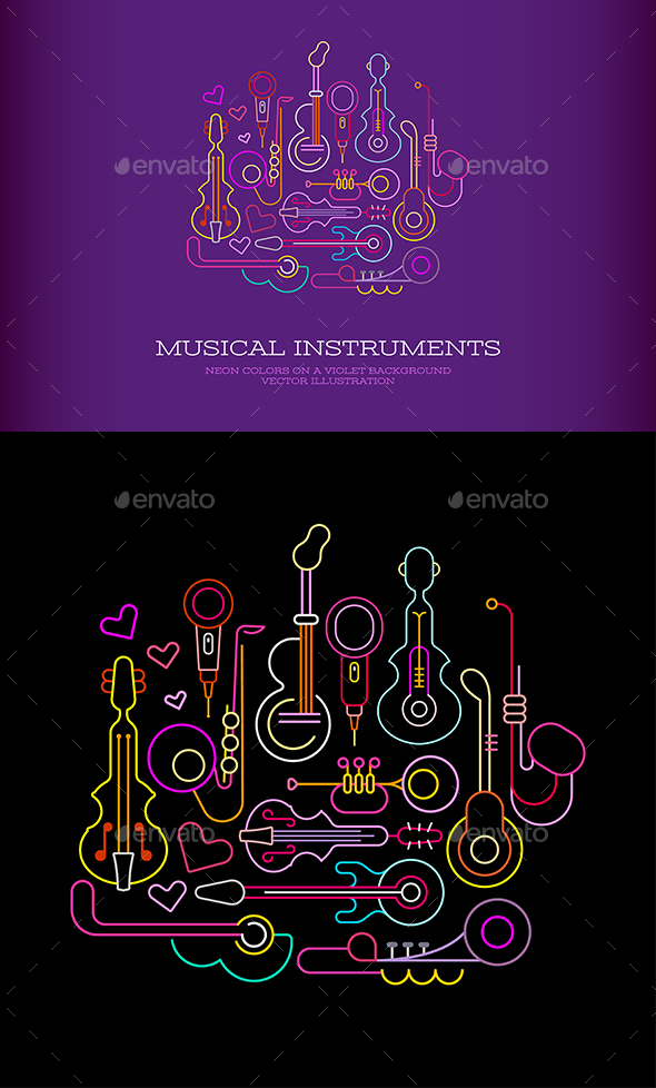 Musical Instruments Neon - Abstract Conceptual