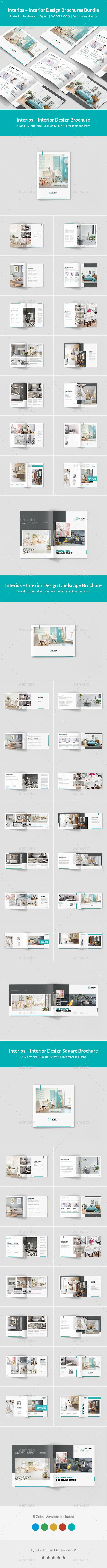 Interios – Interior Design Brochures Bundle Print Templates 3 in 1 - Corporate Brochures