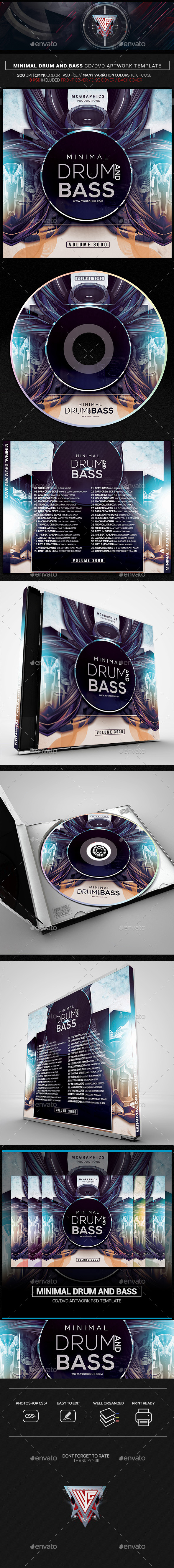 Minimal Drum and Bass CD/DVD Template - CD & DVD Artwork Print Templates