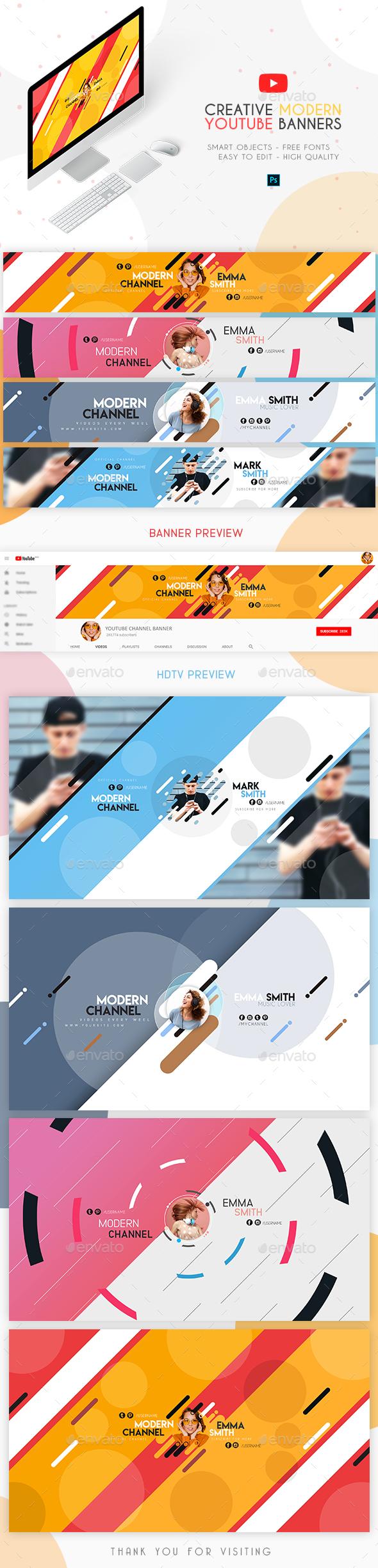 4 Modern YouTube Banners - YouTube Social Media