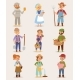 Vector Farmers Cartoon People with Organic Village - GraphicRiver Item for Sale