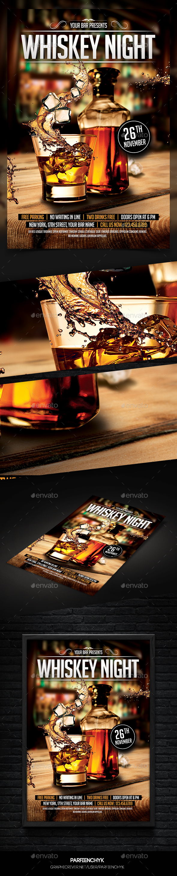Whiskey Night Flyer Template - Clubs & Parties Events