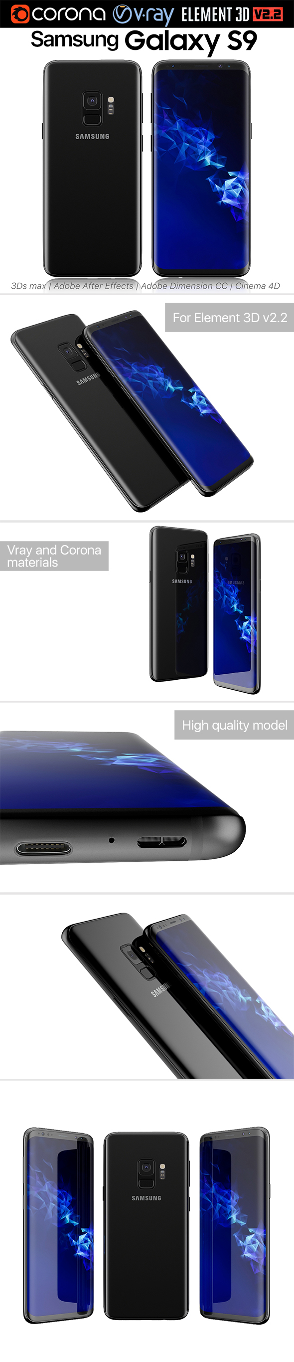 Samsung Galaxy S9 Black - 3DOcean Item for Sale