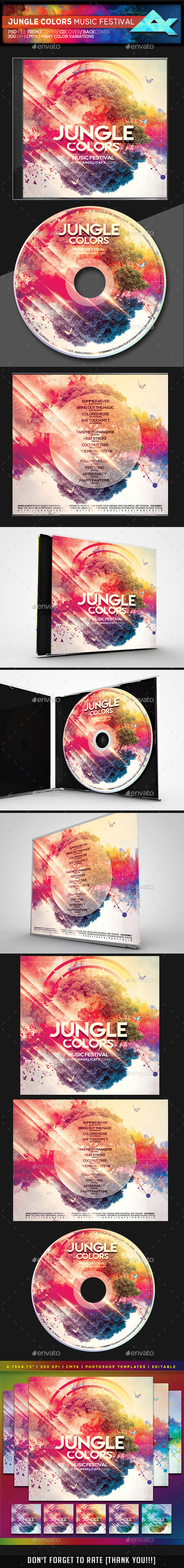 Jungle Colors CD/DVD Photoshop Template - CD & DVD Artwork Print Templates