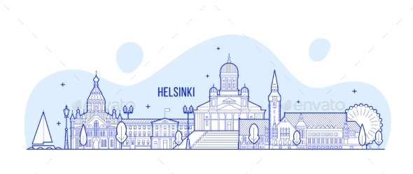 Helsinki Skyline Finland City Buildings Vector - Buildings Objects