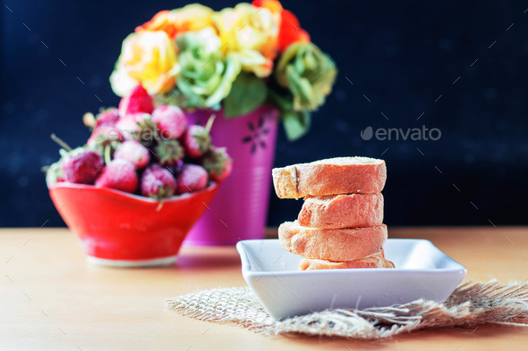 Cake on a wooden table - Stock Photo - Images