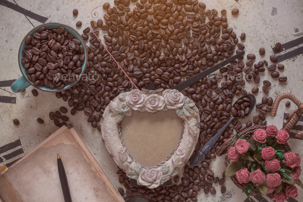 coffee and frame on clock - Stock Photo - Images