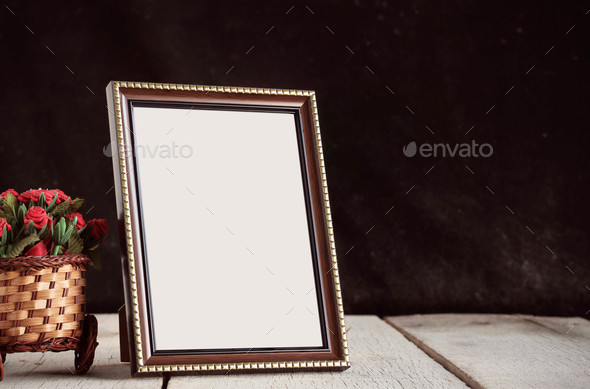 Picture frames on wooden - Stock Photo - Images