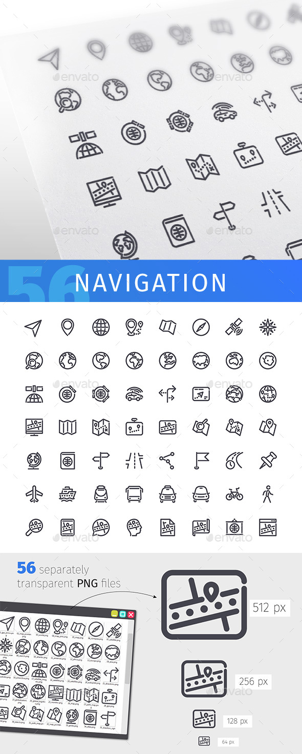 Navigation Line Icons Set - Technology Icons