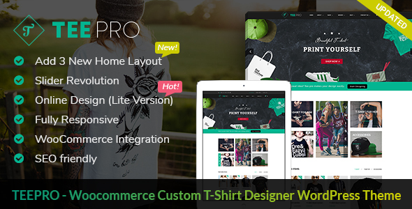 TEEPRO - Woocommerce Custom T-Shirt Designer WordPress Theme - Retail WordPress