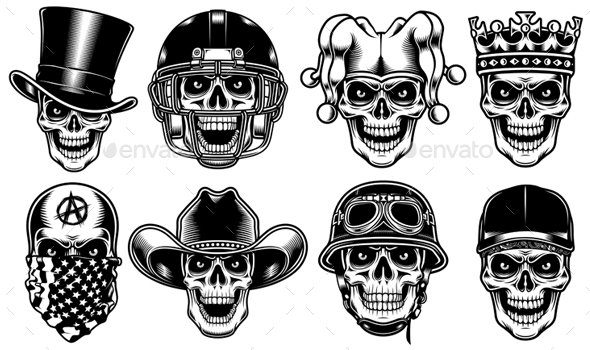 Set of Skull Characters Isolated on White Background - Miscellaneous Characters