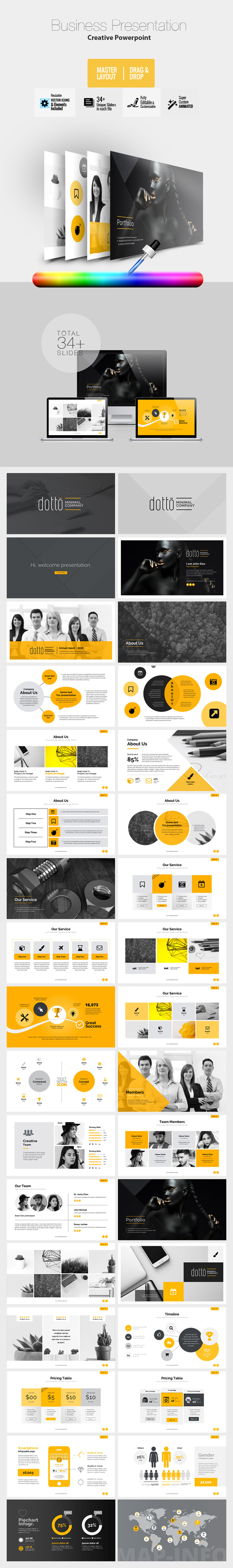 Creative Dotto PowerPoint Template - Business PowerPoint Templates