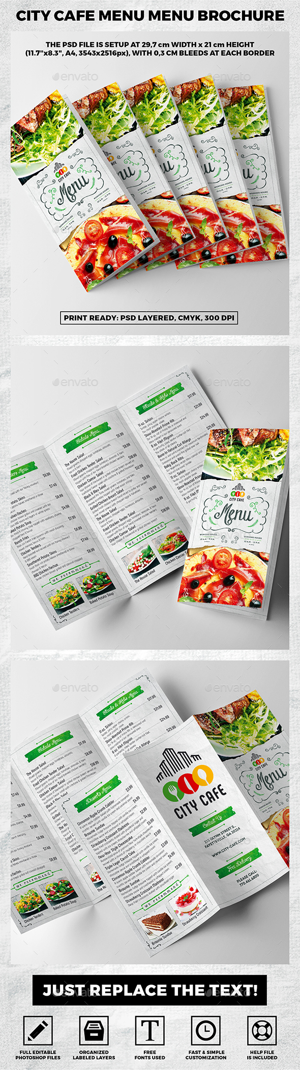 Trifold A4 City Cafe Menu Template vol.1 - Food Menus Print Templates
