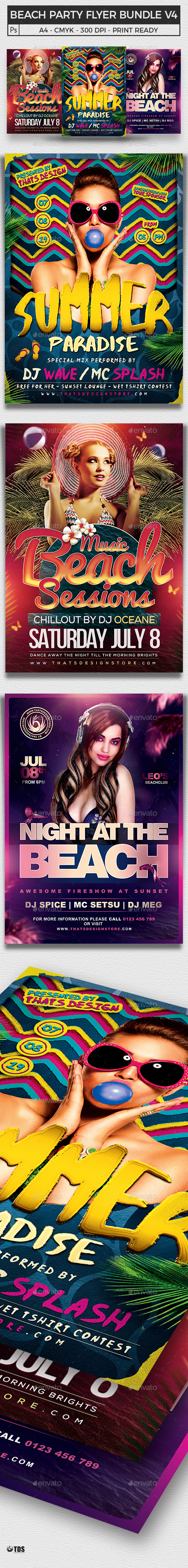 Beach Party Flyer Bundle V4 - Clubs & Parties Events