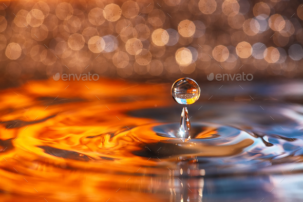 Water drop and splash close up - Stock Photo - Images