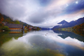Misty morning on the lake Grundlsee Alps Austria Europe - PhotoDune Item for Sale