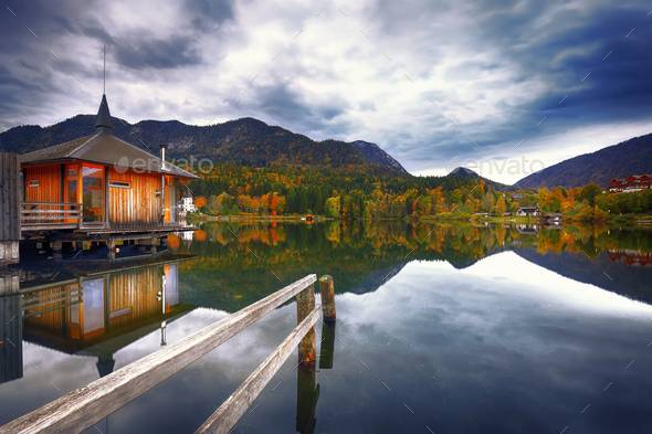 Grundlsee lake in Alps mountains - Stock Photo - Images