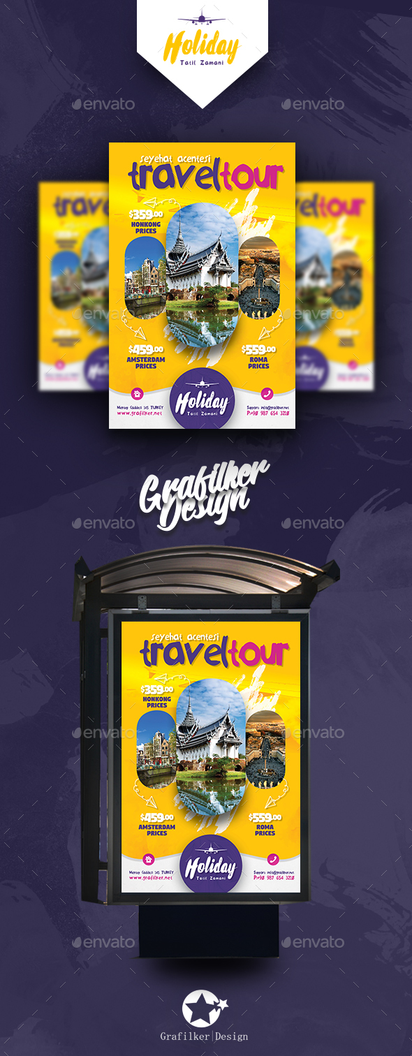 Travel Tours Poster Templates - Signage Print Templates