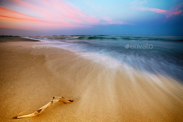 Magnificent long exposure sea sunset - Stock Photo - Images