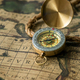 Old compass on vintage map with rope - PhotoDune Item for Sale
