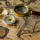Retro compass with old map and magnifier - PhotoDune Item for Sale