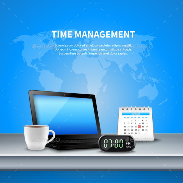 Blue Time Management Realistic Composition - Concepts Business