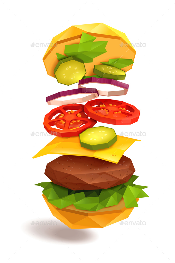 Hamburger Flying Ingredients - Food Objects