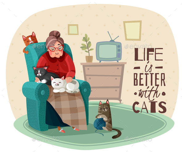 Lady in Armchair Cats Illustration - People Characters