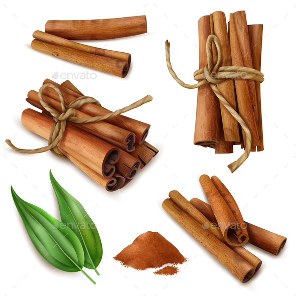 Realistic Cinnamon Sticks Set - Food Objects