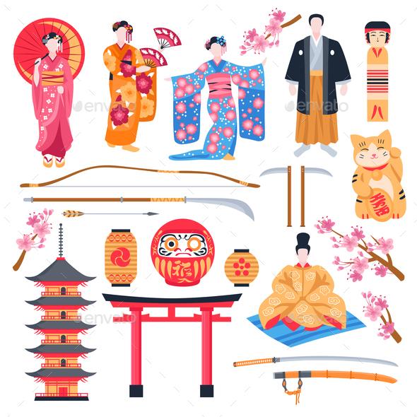Ancient Japan Flat Set - Miscellaneous Vectors