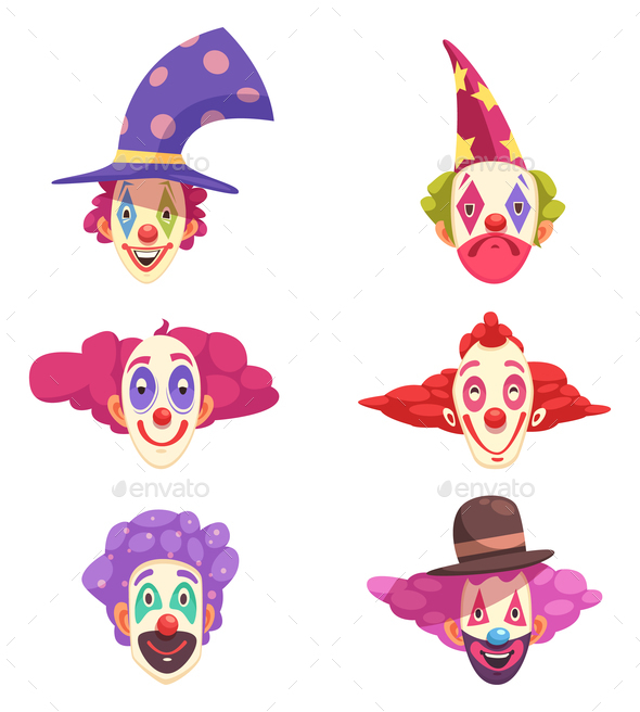Clowns Masks Set - People Characters