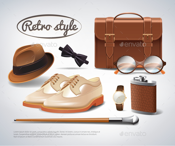Gentleman Accessories Realistic Set - Man-made Objects Objects