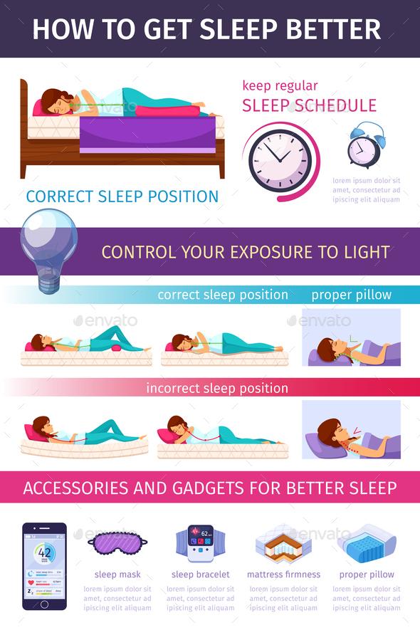 Right Angle Sleeping Infographics - Health/Medicine Conceptual