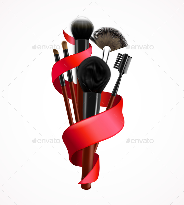 Realistic Make Up Brushes Composition - Backgrounds Decorative