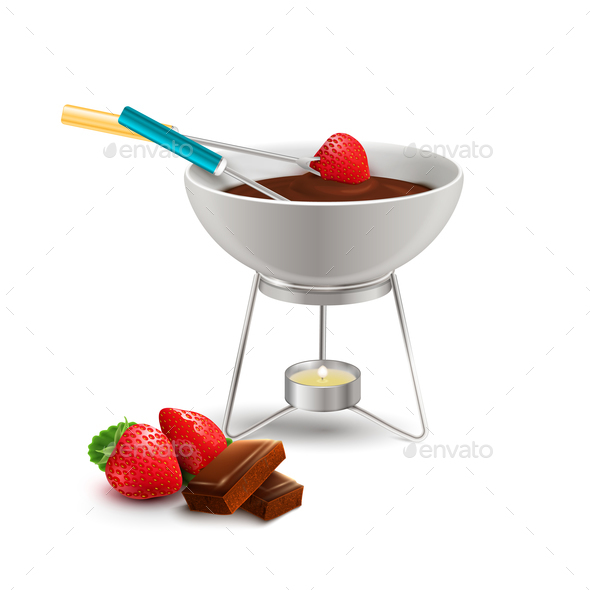 Chocolate Fondue Realistic Composition - Food Objects