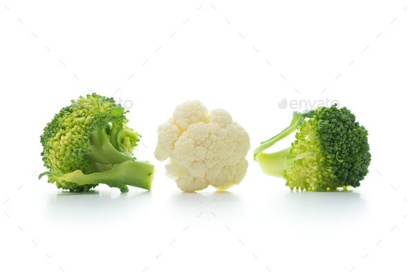 Broccoli and cauliflower isolated on white background - Stock Photo - Images