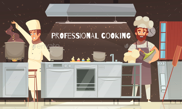 Professional Cooking Restaurant Illustration - Food Objects