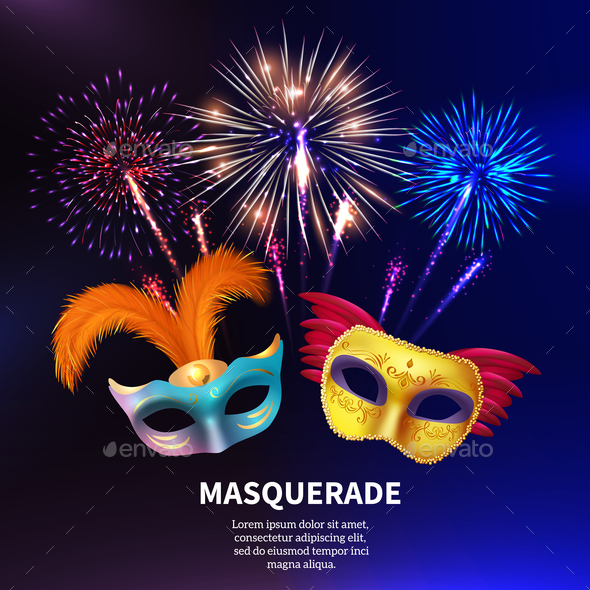Party Masquerade Fireworks Background - Miscellaneous Vectors