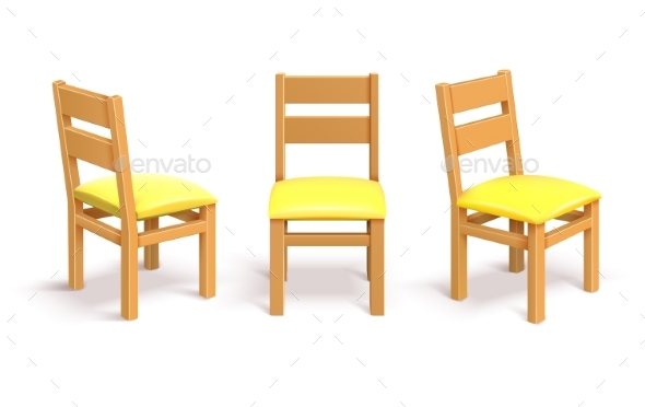 Wooden Chair in Different Position Isolated Vector - Man-made Objects Objects