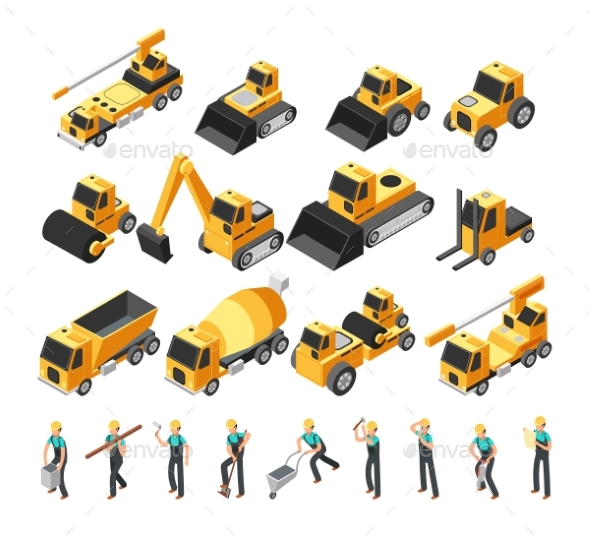 Isometric Construction Workers - Man-made Objects Objects