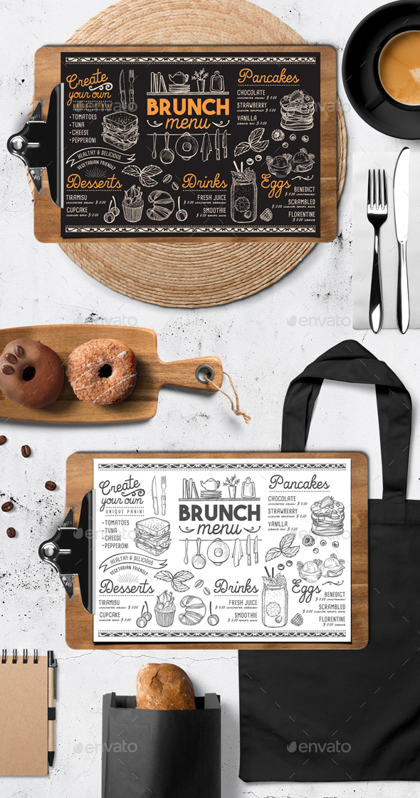 Brunch Food Menu - Food Menus Print Templates