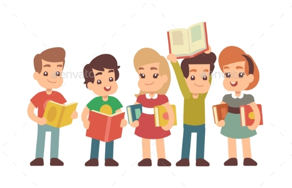 Cartoon Preschool Children with Books - People Characters