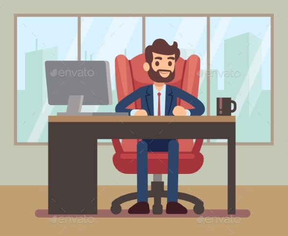Businessman Working at Desk with Laptop - People Characters