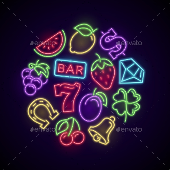 Gambling Casino Games Neon Logo with Slot Machine - Miscellaneous Vectors