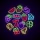 Gambling Casino Games Neon Logo with Slot Machine