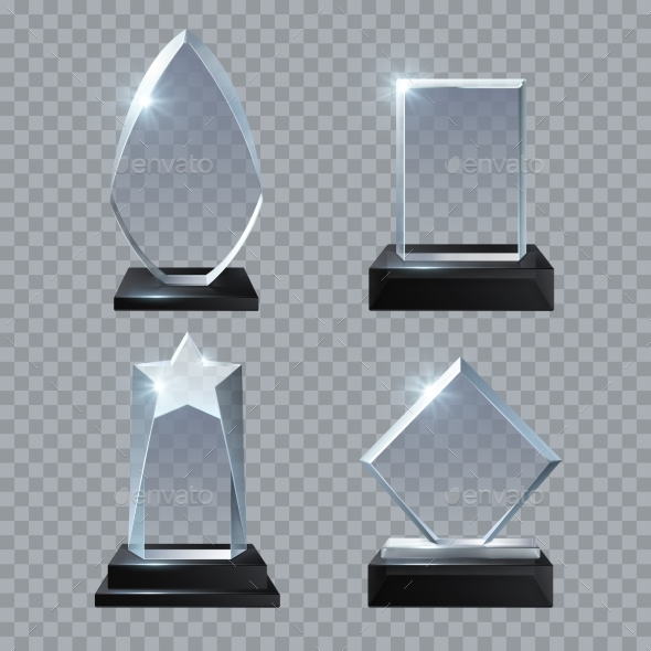 Crystal Glass Blank Trophy Awards Isolated Vector - Man-made Objects Objects