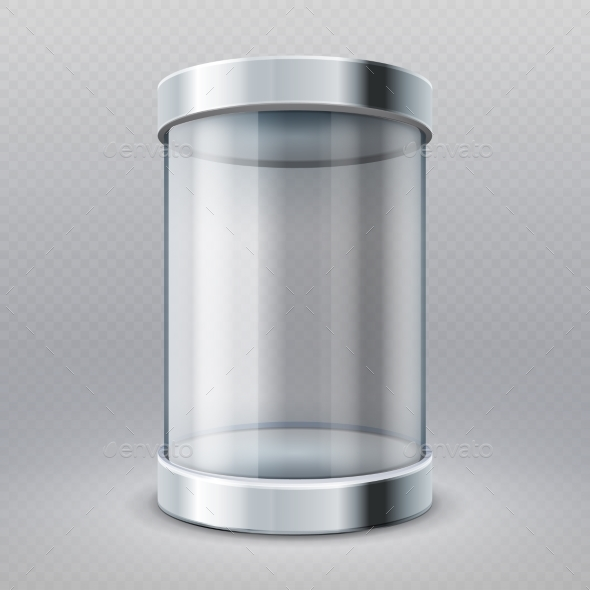 Empty Transparent Glass Cylinder Showcase - Man-made Objects Objects