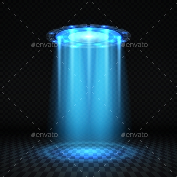 UFO Blue Light Beam - Miscellaneous Vectors