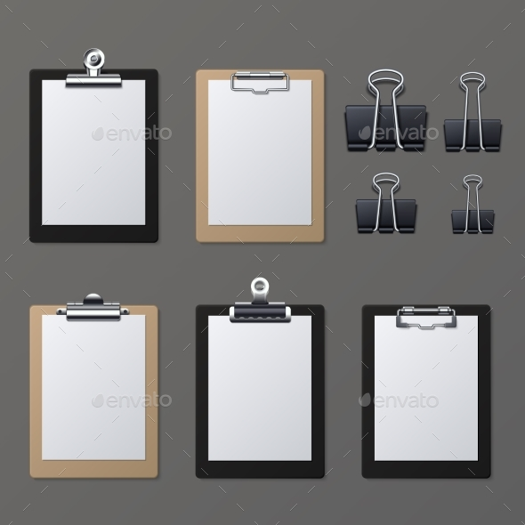 Realistic Clipboards with Blank White Paper Sheet - Man-made Objects Objects