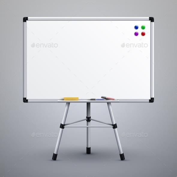 Office Presentation Whiteboard on Tripod - Man-made Objects Objects